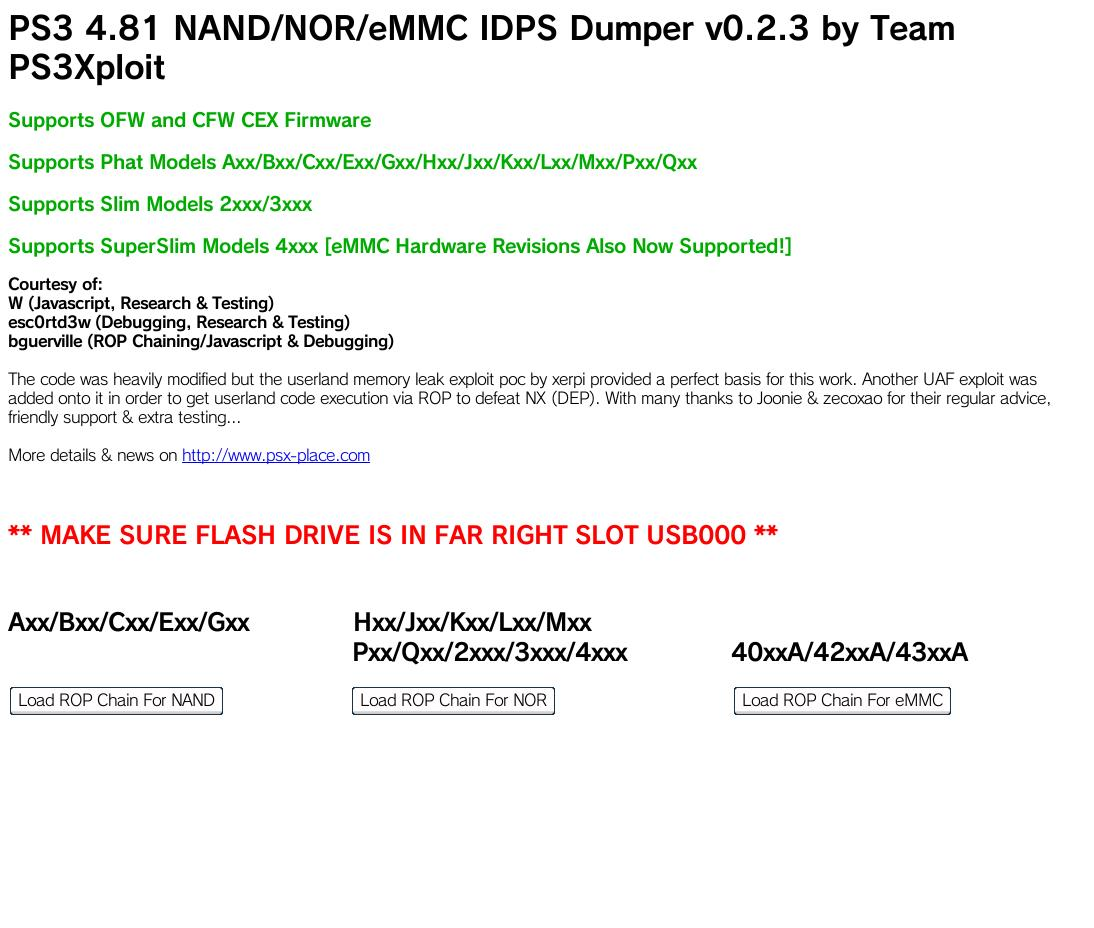 PS3 - [UPDATE] IDPS Dumper (PS3 NAND / NOR ) - 4 81/4 82 OFW